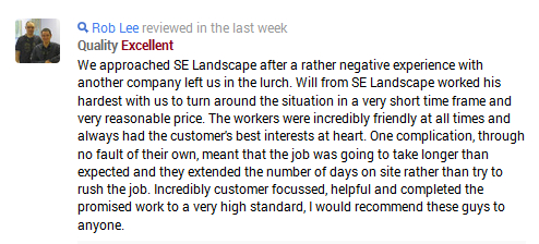 SE Landscape Construction Ltd | Testimonial