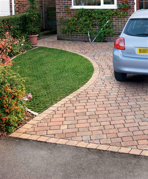 Grassguard permeable grid grass alternative to block for Front garden block paving designs
