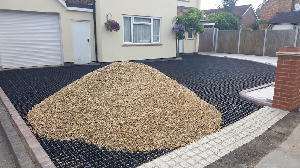 gravel driveway using grid system chelmsford