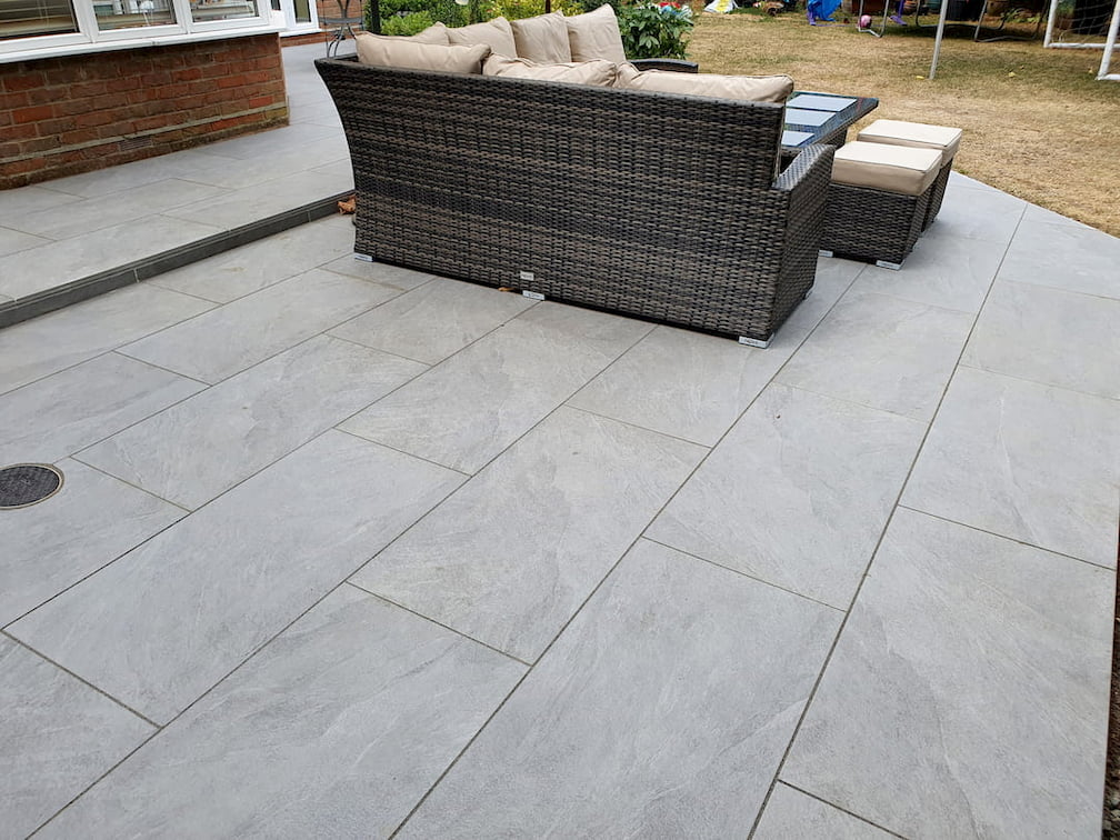 grey porcelain patio in chelmsford